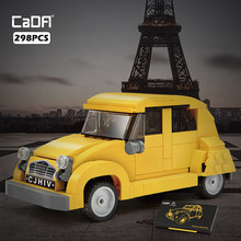 New 1948 Classic Retro 2CV Car Mini Cars Model Building Blocks Brick 298pcs City Yellow Vehicle Technical Kids Toys Boys