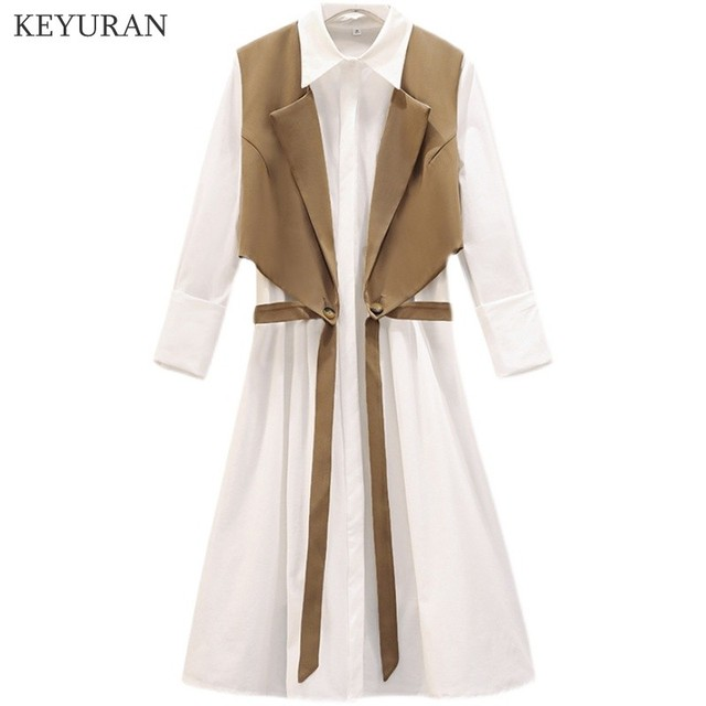 Long Shirt Two Piece Set  Turn Down Collar White Shirt Dress And Vest Tops 5