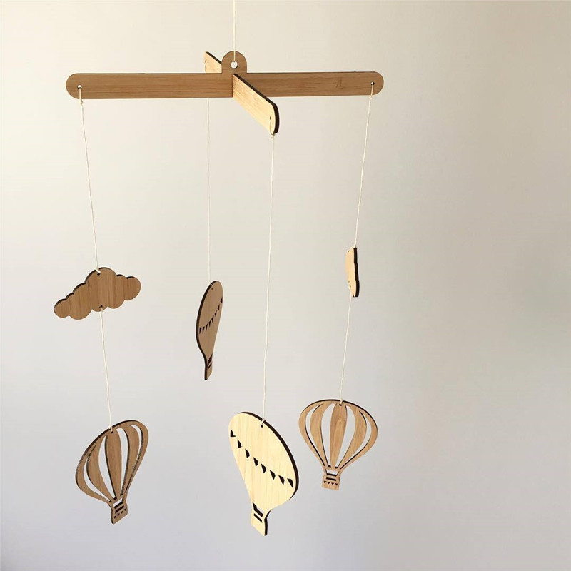 INS Nordic Wooden Hot Air Balloon Newborn Baby In The Crib Infant Room Decor Photography Props Baby Bedroom Decoration Pacifying