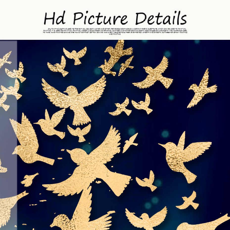 Biru dan Emas Mewah Abstrak Hewan Kanvas Lukisan Keluarga Dinding Seni Poster untuk Dinding Ruang Tamu Cetakan Dekorasi Rumah