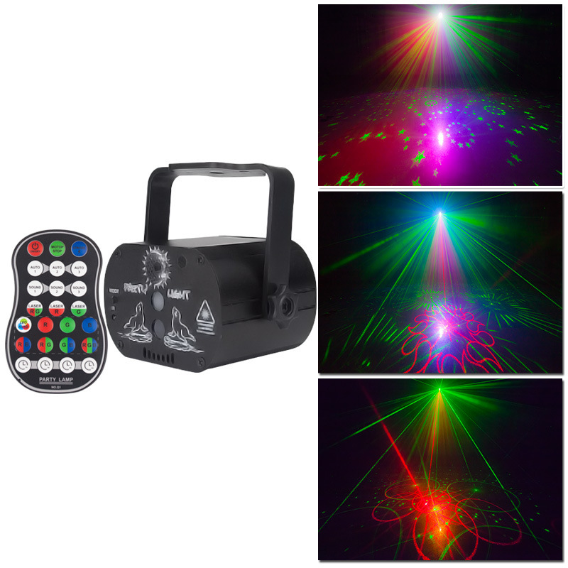 Remote Starry Laser Light RGB LED Projector Mini Party Disco Lights Strobe Stage Lighting Effect 60 Patterns Gobo Lazer Lamp USB