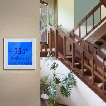 Termostat inteligentny instalacja hydrauliczna do podgrzewany elektrycznie temperatura podgrzewania kontroler naciśnij ekran do montażu na ścianie w Grzejniki elektryczne od AGD na