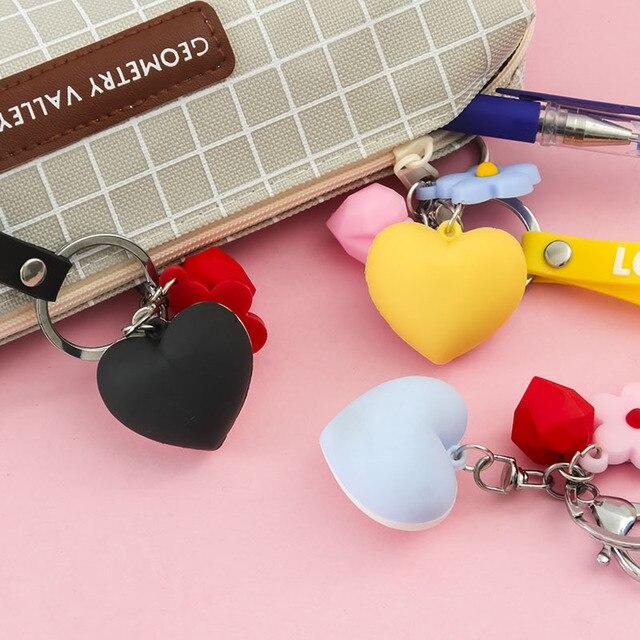 Mode amour porte-clés corde pendentif créatif dessin animé porte-clés hommes et femmes voiture sacs pendentif accessoires porte-clés cadeau