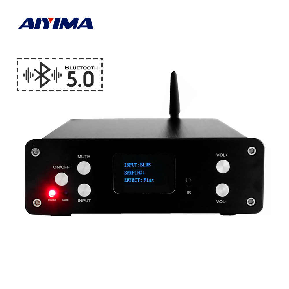 Aiyima 2.1 Bluetooth 5.0 Digital Home Amplifier STA326 QCC3008 30Wx2 + 60W Subwoofer Amplifier OLED Amp Coaxial Optik USB masukan