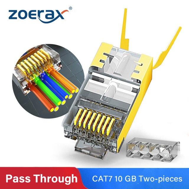 ZoeRax RJ45 Cat8 Cat7 & Cat6A Pass Through connectors 8P8C 50UM Gold Plated Shielded FTP/STP | RJ45 Network Modular Plug - 1.5mm 1