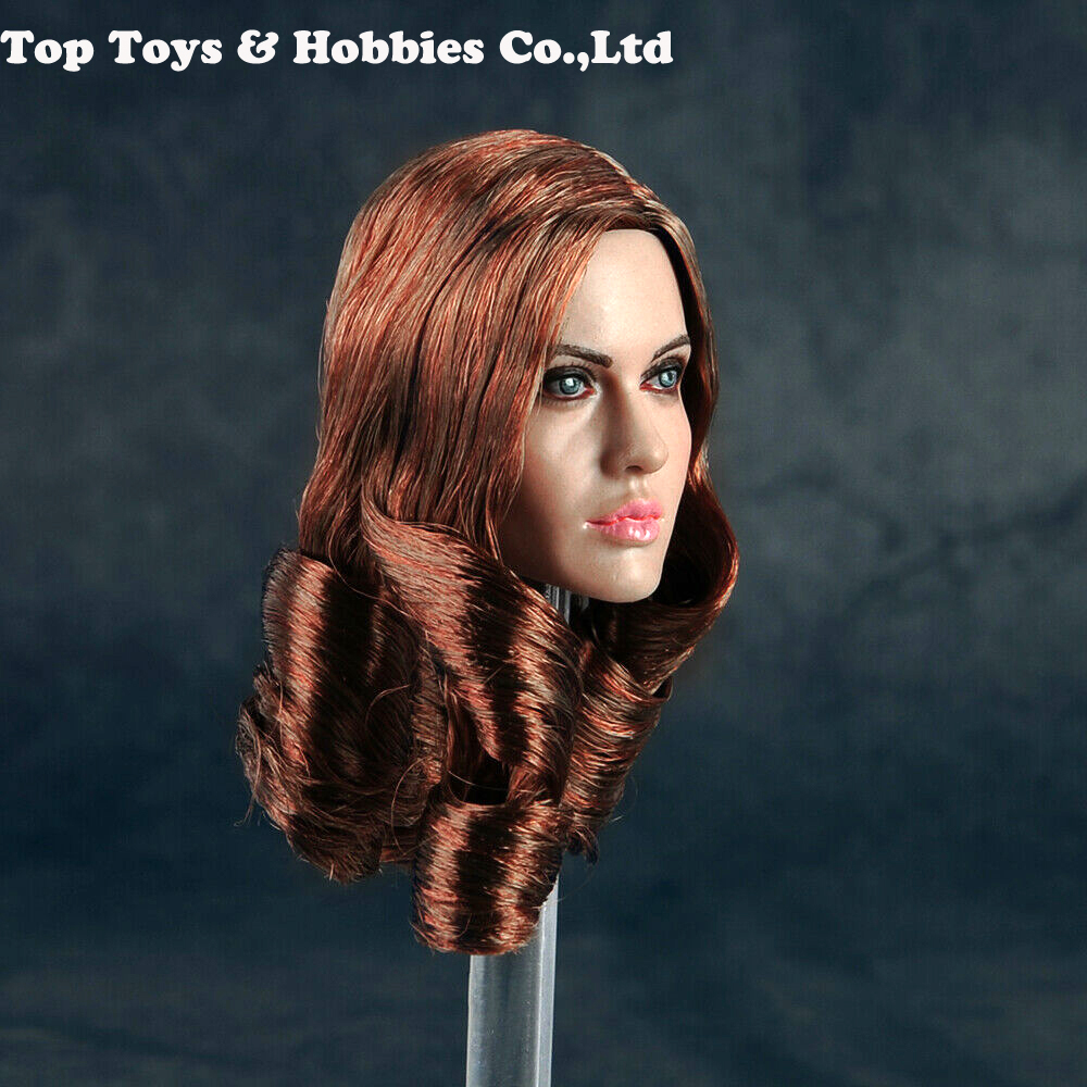 US Female Head Sculpt 1//6 Scale Caucasian with Curly Hair