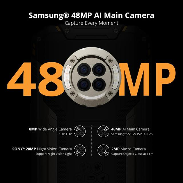 DOOGEE S96 Pro Smartphone 48MP Round Camera 20MP Infrared Night Vision 6.22'' Helio G90 Octa Core 8GB+128GB 6350mAh Rugged Phone 3