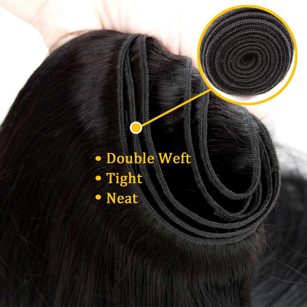 Queen hair Products бразильские волосы плетение пучки бразильские прямые волосы Remy человеческие волосы 3 пучка можно смешивать с закрытием