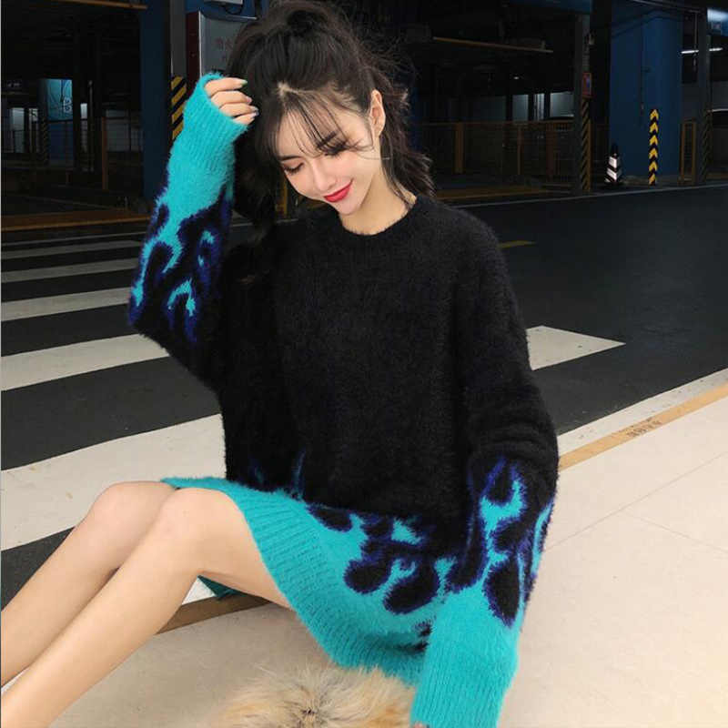 Sonbahar ve kış moda kazak alev desen gevşek uzun kollu kadın 2020 Dropshipping