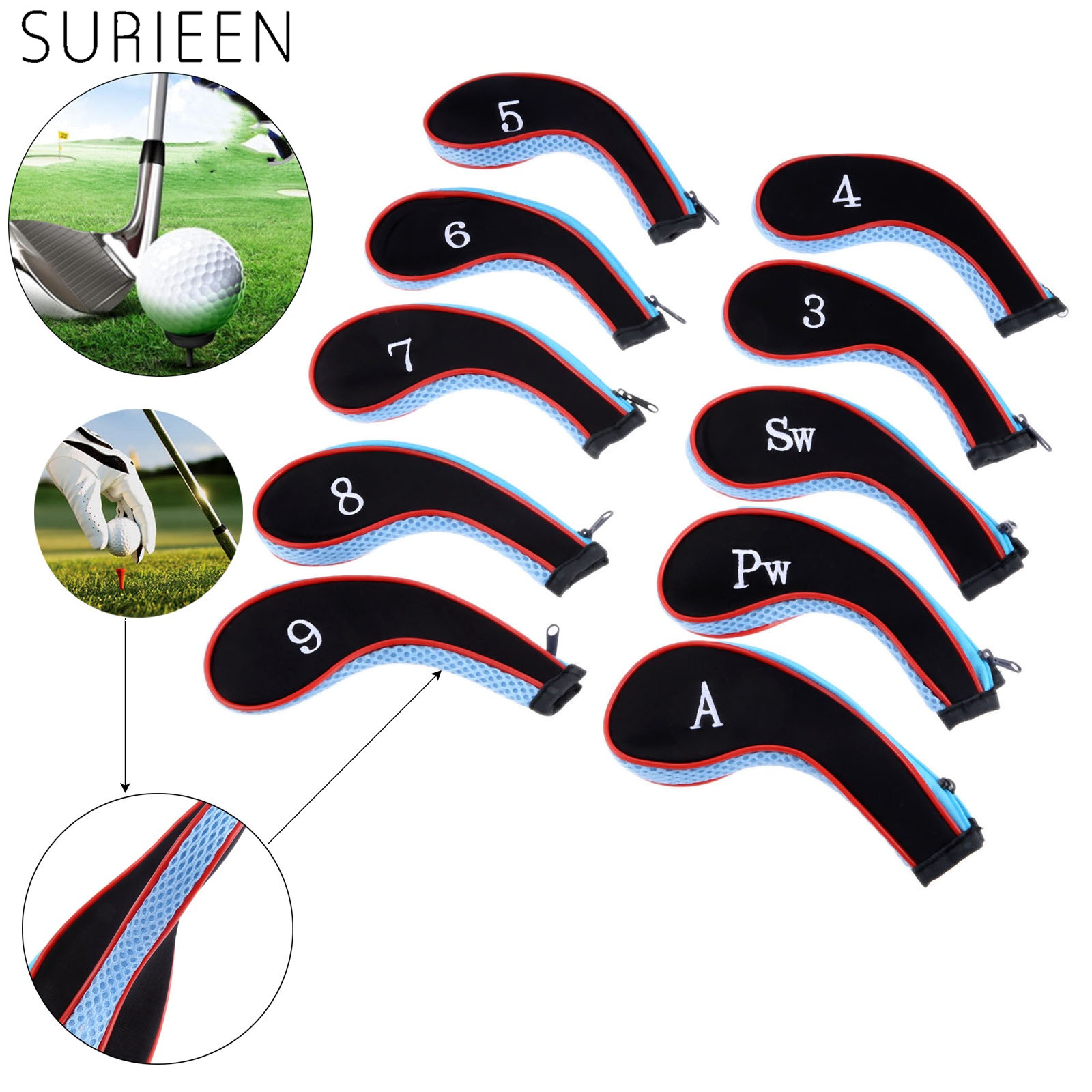 10 Pcs Neoprene Golf Club Head Covers Golf Iron Headcovers Protect Set Number Printed With Zipper Headcover For 3-9 Irons Wedges