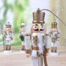 Diy Рождественский деревянный Щелкунчик куклы игрушки фигурные статуэтки кулон для праздника дерево подставки 5 дюймов украшения