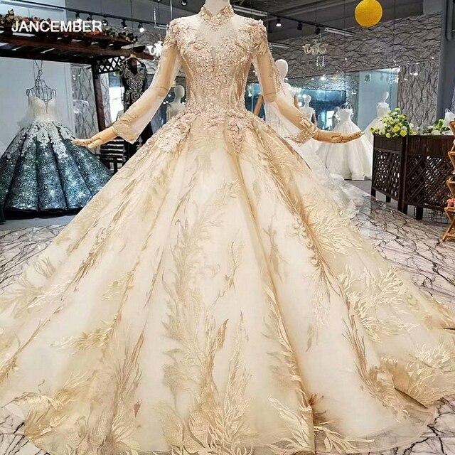 LS474110高級教徒のイブニングドレス長袖ハイネック3D花ゴールデンドバイ女性日のドレス送料無料