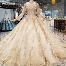 LS474110 luxus muslimischen abendkleid langarm high neck 3D blume goldenen ballkleid dubai frauen anlass kleider freies verschiffen