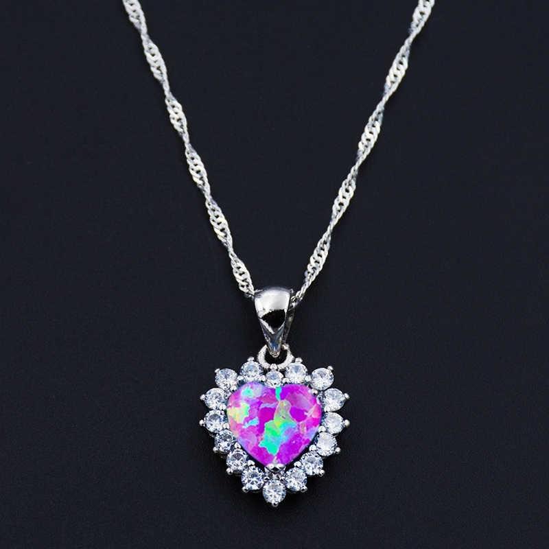 רומנטי זירקון לב תליוני שרשרת קסם חיקוי אופל אבן שרשרת הצהרת תכשיטי נשים אביזרי ילדה מתנה