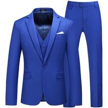 Bridal Gum Suits Men Banquet Business Clothing Three-piece Pack (Jas + Broek + Vest) High-end Custom Big Format Blazer