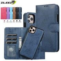 Custodia rimovibile in pelle di lusso per iPhone SE 2020 12 Mini 11 Pro XR XS Max 6 6s 7 8 Plus 5 5s Flip portafoglio Card Phone borse Cover