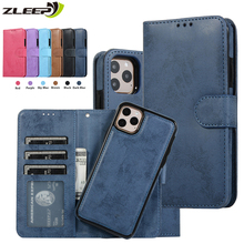Luxury Leather Removable Case For iPhone SE 2020 12 Mini 11 Pro XR XS Max 6 6s 7 8 Plus 5 5s Flip Wallet Card Phone Bags Cover