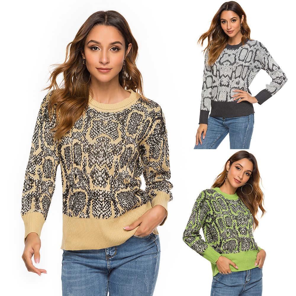Puimentiua модный вязаный свитер для женщин с принтом в виде пуффов длинным рукавом