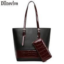 DIINOVIVO Crocodile Pattern Women Handbags Patent Leather Patchwork Shoulder Bag Female Purses and Lady Bags WHDV1305