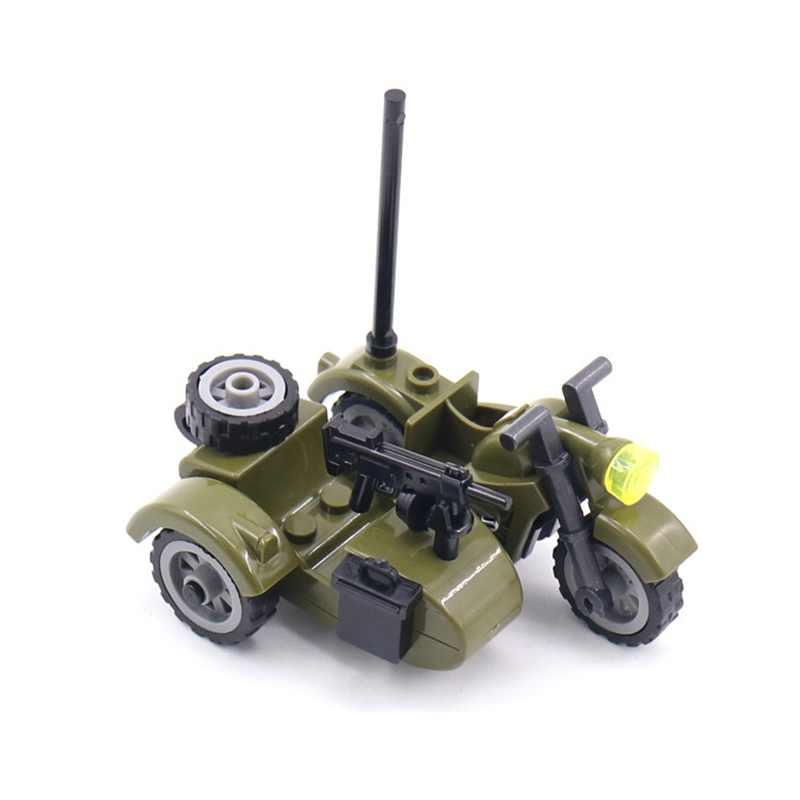 Creador de partículas militares, accesorio para motocicleta, triciclo de dibujos animados, juego de bloques de construcción, juguete de Chico, Kit de Ciudad de creativos militares