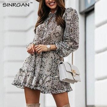 NANKEY Snake Skin Print Dress Women Animal Print Pleated Mini Dress Vintage Fashion Ruffles Dresses Vestidos Mujer 1