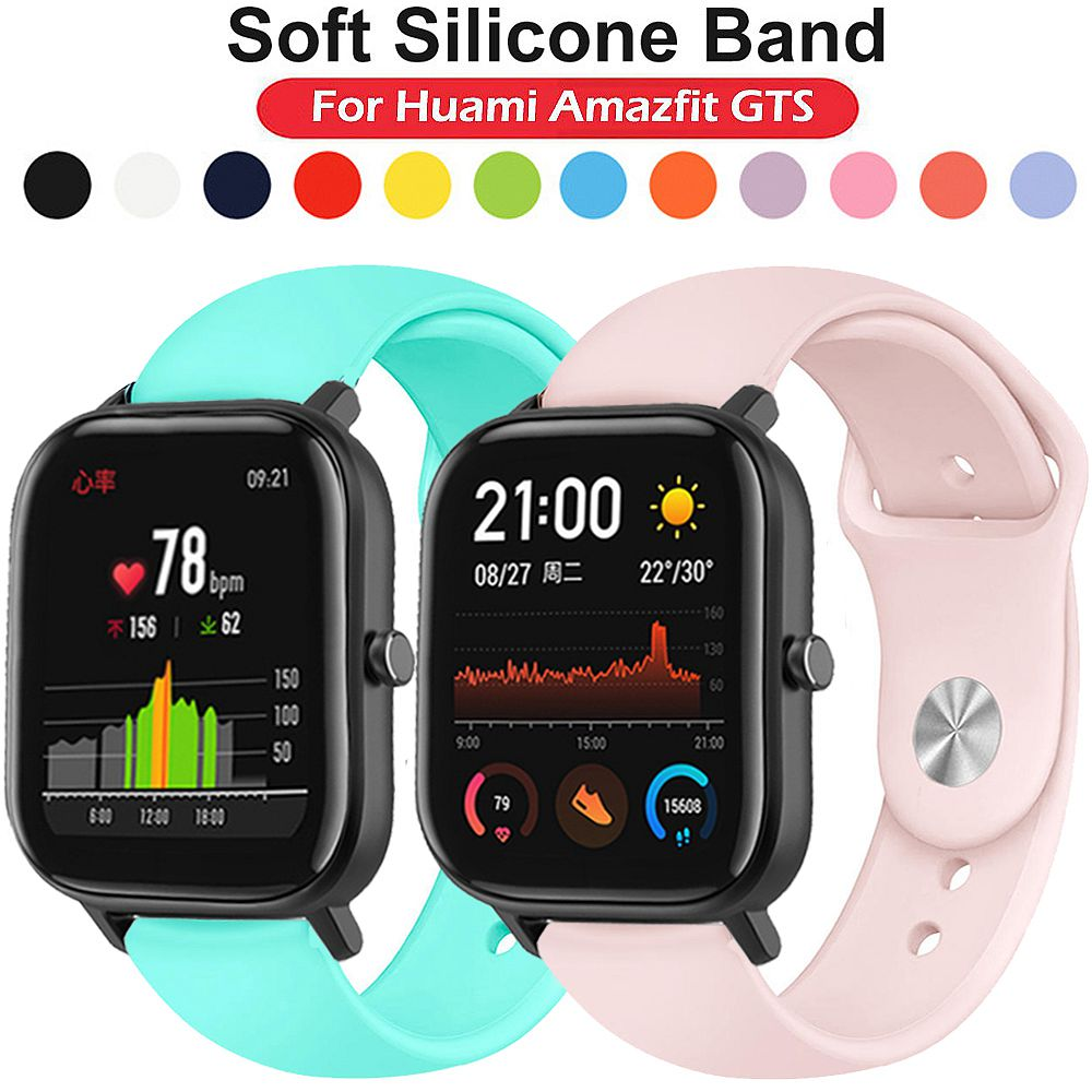 Silicone Sport Band <font><b>Strap</b></font> for Amazfit <font><b>GTS</b></font>/GTR 42mm/Bip Lite Smart <font><b>Watch</b></font> Band Bracelet Sport Replacement Wristband Galaxy Active <font><b>Watch</b></font> 42 Band Quick Release WatchBand <font><b>20mm</b></font> image