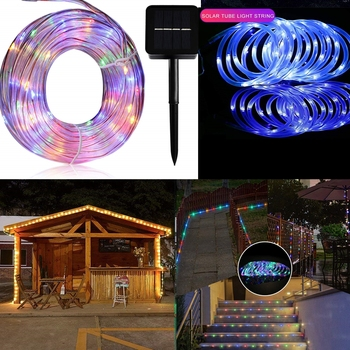 Tube Rope Light Solar String Lamp 50/100 LED Waterproof Lights Garden Party Christmas Decoration image
