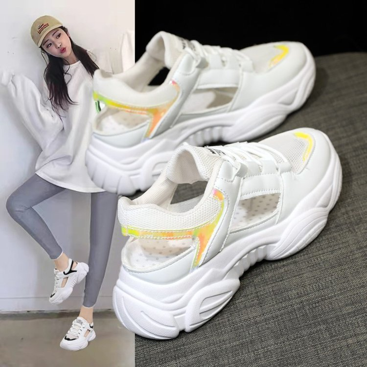 mesh hole old father shoes women sports sandals women bag head increase ins1 fashion Korean version lazy people breathe