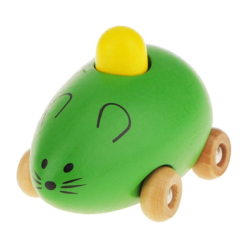 Children Baby Toys Mini Wooden Sound BB Mouse Car Shape Model - Green