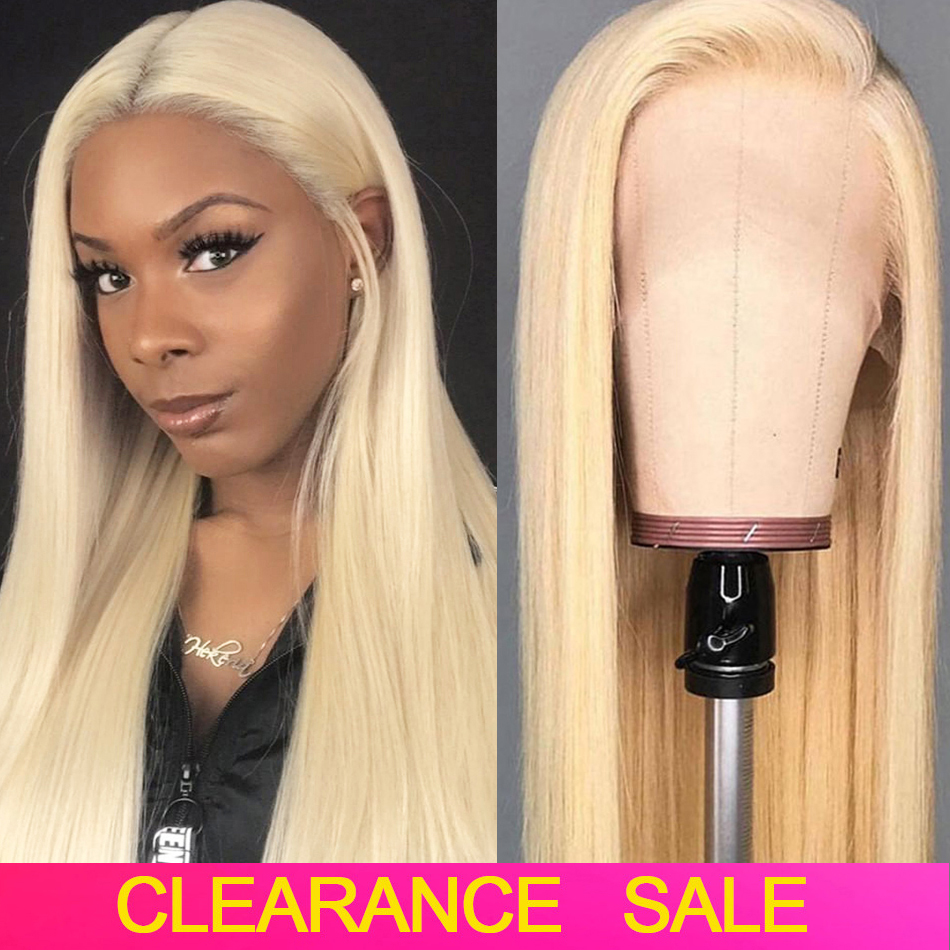 613 Blonde Lace Front Human Hair Wigs 13x4 HD Lace Frontal Pre Plucked 8-26 150% Brazilian Straight Remy Lace Wigs For Women