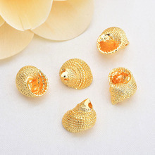 6pcs 13*10mm 24k Gold Color Brass Conch Charms Pendants High Quality Diy Jewelry Findings Accessories Wholesale