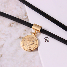 Elizabethe Queen Portrait Coin Choker Necklace Gold Copper Braid Rope Chain Short Disc Necklace 2019 New Fashion бижутерия