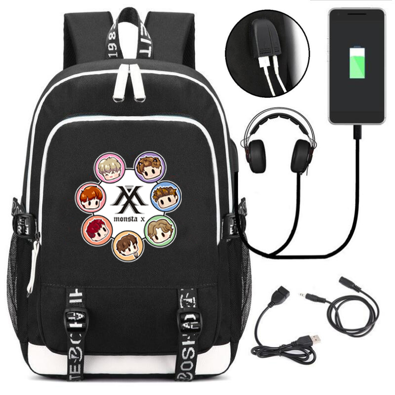 Kpop  Monsta X Men's USB Backpack  School Bag For Teenagers Casual Laptop Bags With USB Charging Cable And Earphone Cable