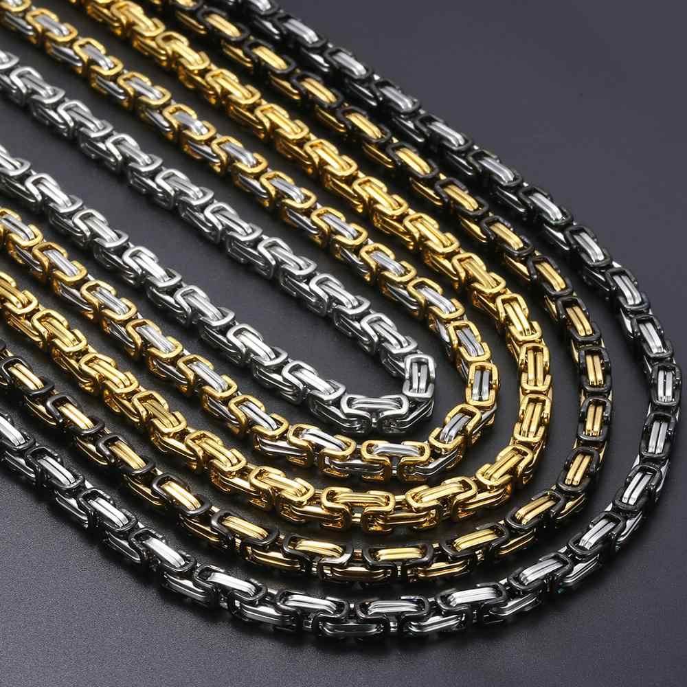 5mm bizantyjski Box Link naszyjnik łańcuch dla mężczyzn chłopców ze stali nierdzewnej złoto srebro naszyjniki Hip Hop moda biżuteria KNN19