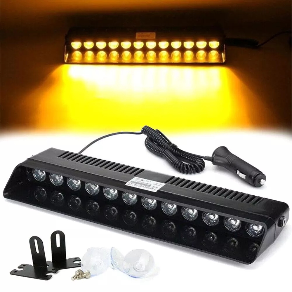 12 LED Car Truck Dashboard Interior Windshield Warning Light Emergency Strobe Flash Light Super Bright Sucker Easy Installation