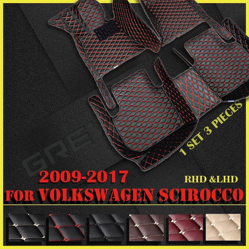Кожаные автомобильные коврики для Volkswagen Scirocco 2009, 2010, 2011, 2012, 2013, 2014, 2015, 2016, 2017, под заказ, автомобильные накладки на ножки