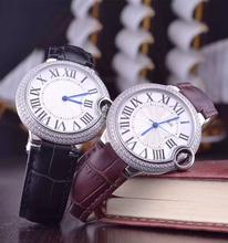 Klasyczne nowe czerwone czarne skórzane zegarki damskie męskie szafirowe japońskie kwarcowe bez daty 36mm sportowe modne zegarki 36mm AAA + tanie tanio Luxury ru QUARTZ STAINLESS STEEL 3Bar CN (pochodzenie) Klamra 15mm AAA+ 20cm Nie pakiet ROUND Luminous Auto data Kompletna kalendarz