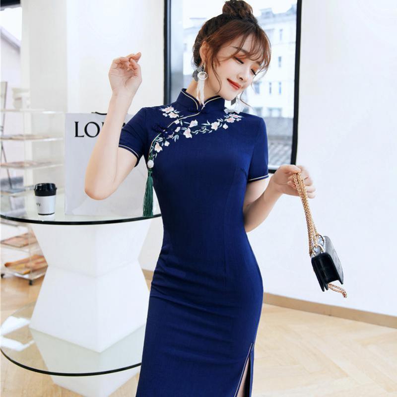 Sexy Cotton Linen Classic Women Novelty Chinese Dress Navy Blue Flower Cheongsam Vestidso Elegant Mandarin Collar Qipao