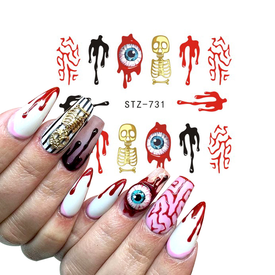 2019 New Style Halloween Theme Manicure Watermarking Adhesive Paper Europe And America Popular Skull Demon Album Nail Sticker