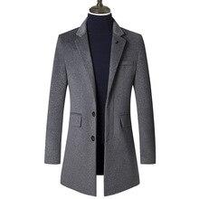 2019 Middle-aged Men's Woolen Overcoat Windbreaker