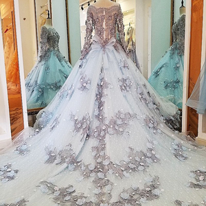 Image 3 - LS00034 evening dress lace beading ball gown long party formal dress organza robe de soiree abendkleider 2018 real photos