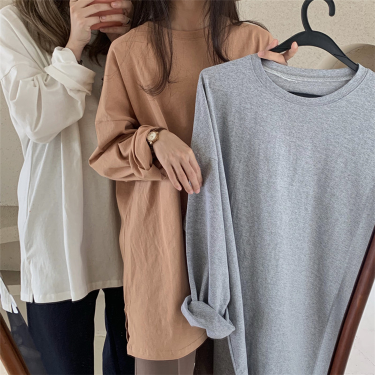 Colorfaith New 2020 Women Spring Loose T-Shirts Solid Bottoming Long Sleeve Casual Korean Minimalist Style Triko Tops Tees T601 2