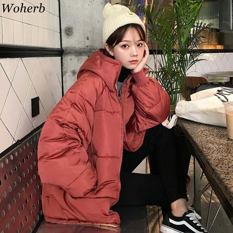 Woherb Winter Puffer Jacket Women Korean Harajuku Padded Coats 2020 Oversized Wadded Jackets Girls Casual Solid Parka Loose