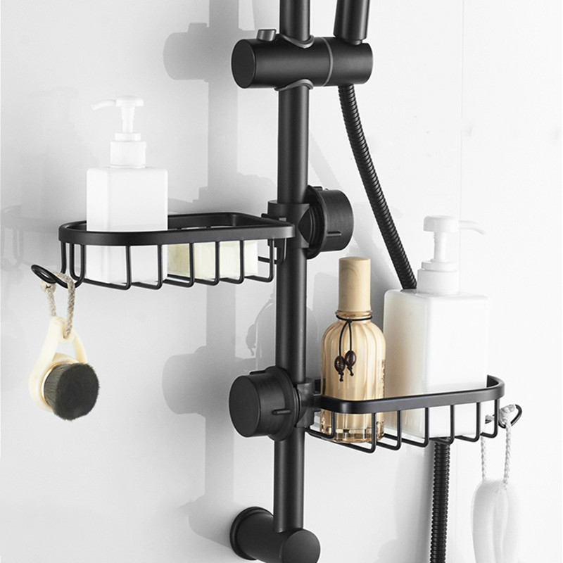 LIUYUE Bathroom Shelf Black Shower Storage Basket Storage Rack Adjustable Faucet Drainage Shelf Kitchen Sundries Storage Rack