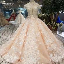 LSS379 Meisjes Baljurk Avondjurken Floor Lengte Kleur Bloemen High Neck Cap Sleeve Lace Up Back Prom Dresses Curve vorm