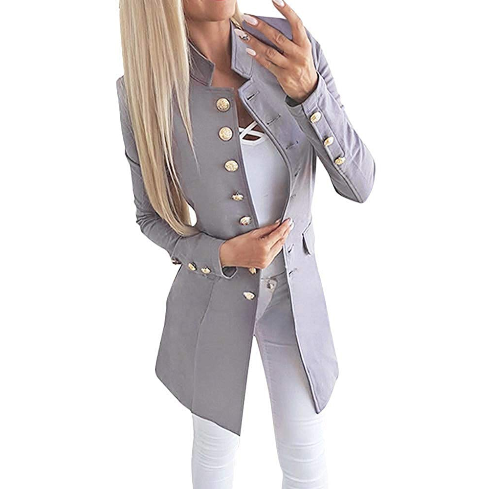 2019 Women Blazer Fashion Double Breasted Long Sleeve Coats New Arrival Lapel Office Lady Casual Jackets Female Vintage Long Top