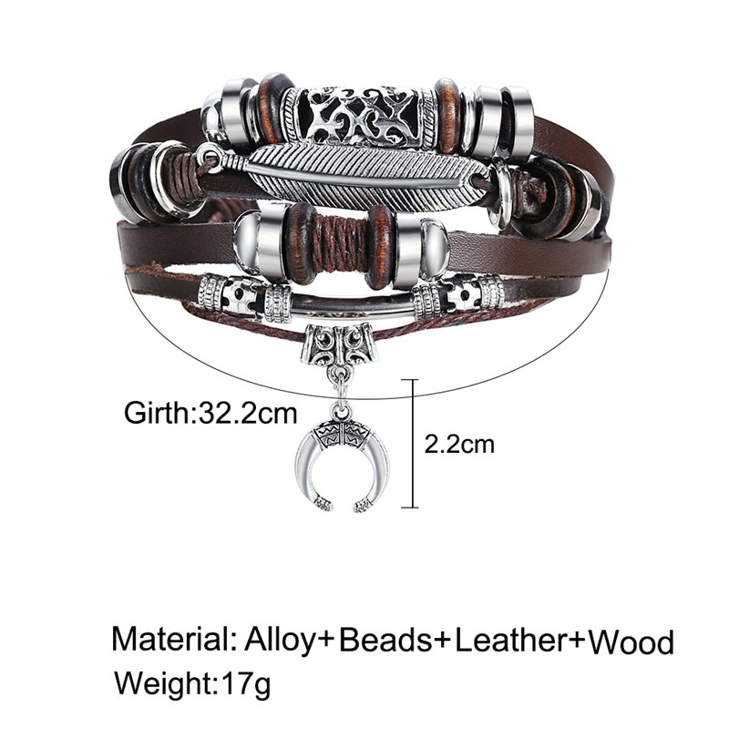 IF ME Fashion Adjustable Multilayer Leather Bracelet Men Male Handmade Wrap Rope Horn Leaf Feather Set Bracelet Bangles Jewelry 5