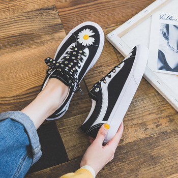 Spring Summer 2020 New Black Low-Top Lovers Canvas Shoes Women's All-match Sneakers Student Daisy Fashion Boy Casual - discount item  31% OFF Women's Shoes