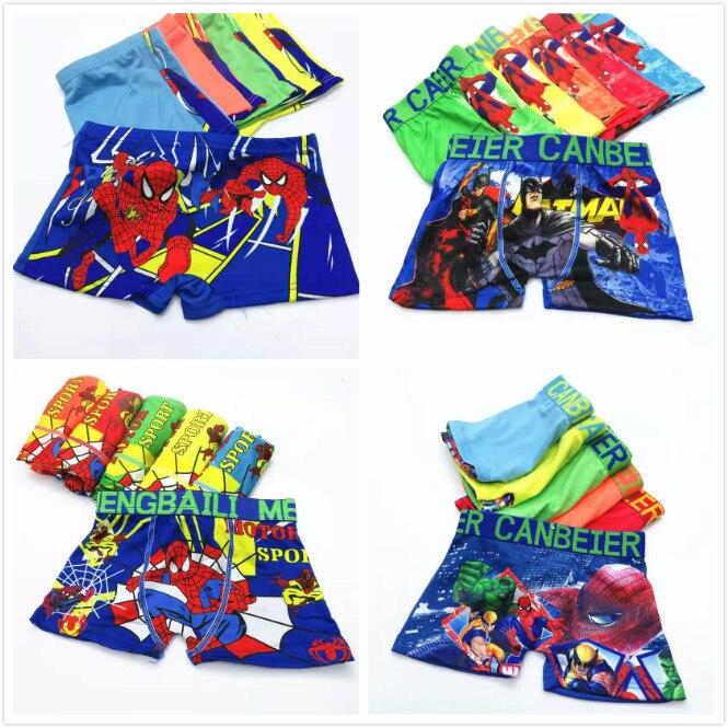 4Pcs/lot Boys Cartoon Car Hero Spiderman Underwear Kids Panties Baby Children Boxer Briefs Cotton Boys Majtki Short Clothes