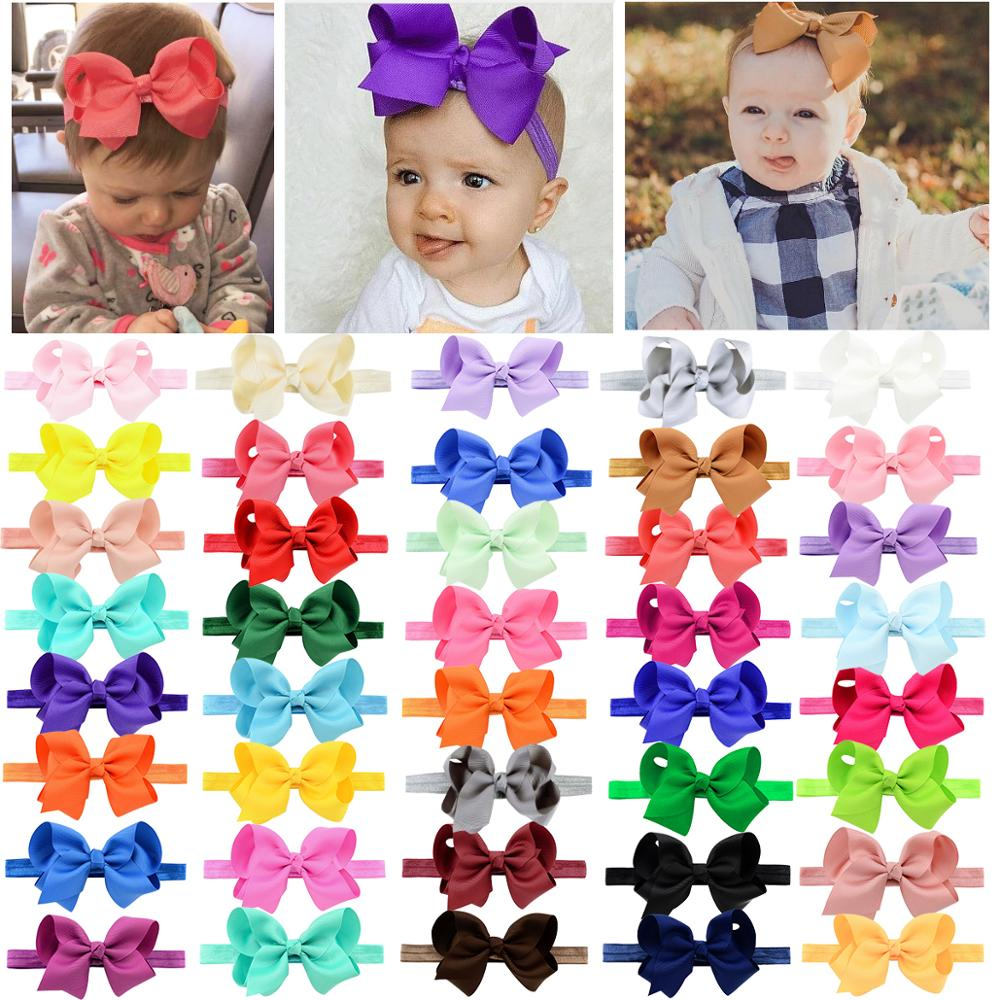 Clearance SaleHair-Bows-Headbands Grosgrain Ribbon Newborn Toddlers Baby-Girls for Infants 40pcs-Colors
